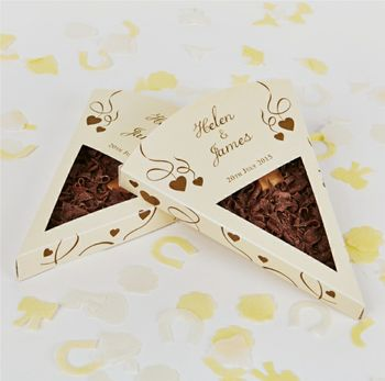 Personalised Chocolate Pizza Slice Wedding Favours X 25