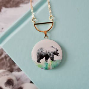 Bear Print Locket - necklaces & pendants