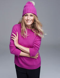 Cashmere Hat With Detachable Pom Pom