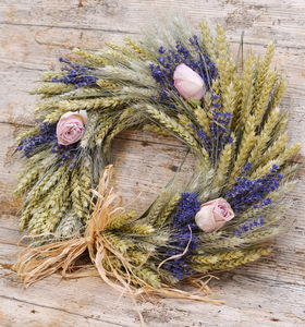 Rose And Lavender Wheat Wreath - room decorations
