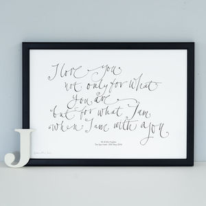 Personalised Romantic Quote 'I Love You' Print