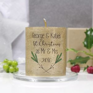 First Christmas As Mr And Mrs Mistletoe Candle - candles & candlesticks