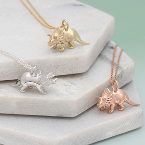 Silver Or 18ct Gold Triceratops Dinosaur Necklace