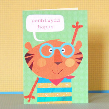 Welsh Birthday Card Teigr In Specs