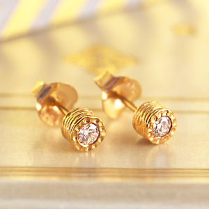 Diamond April Birthstone Anniversary Gold Stud Earrings - mother's day lust list