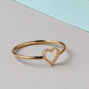 Gold Plated Tiny Open Heart Ring