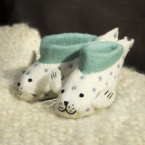 Sally Seal Children's Felt Slippers