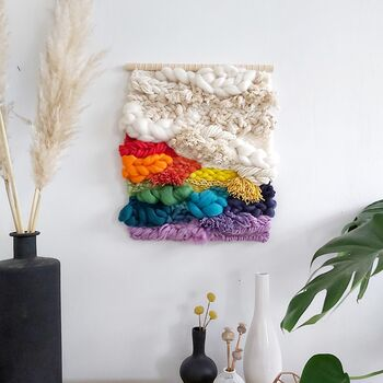 Neutral And Rainbow Woven Wall Hanging