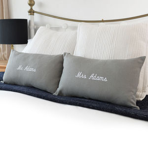 Personalised Mr And Mrs Embroidered Cushions - bedroom