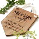 Personalised Oak Wood Wedding Gift Pennant Flag