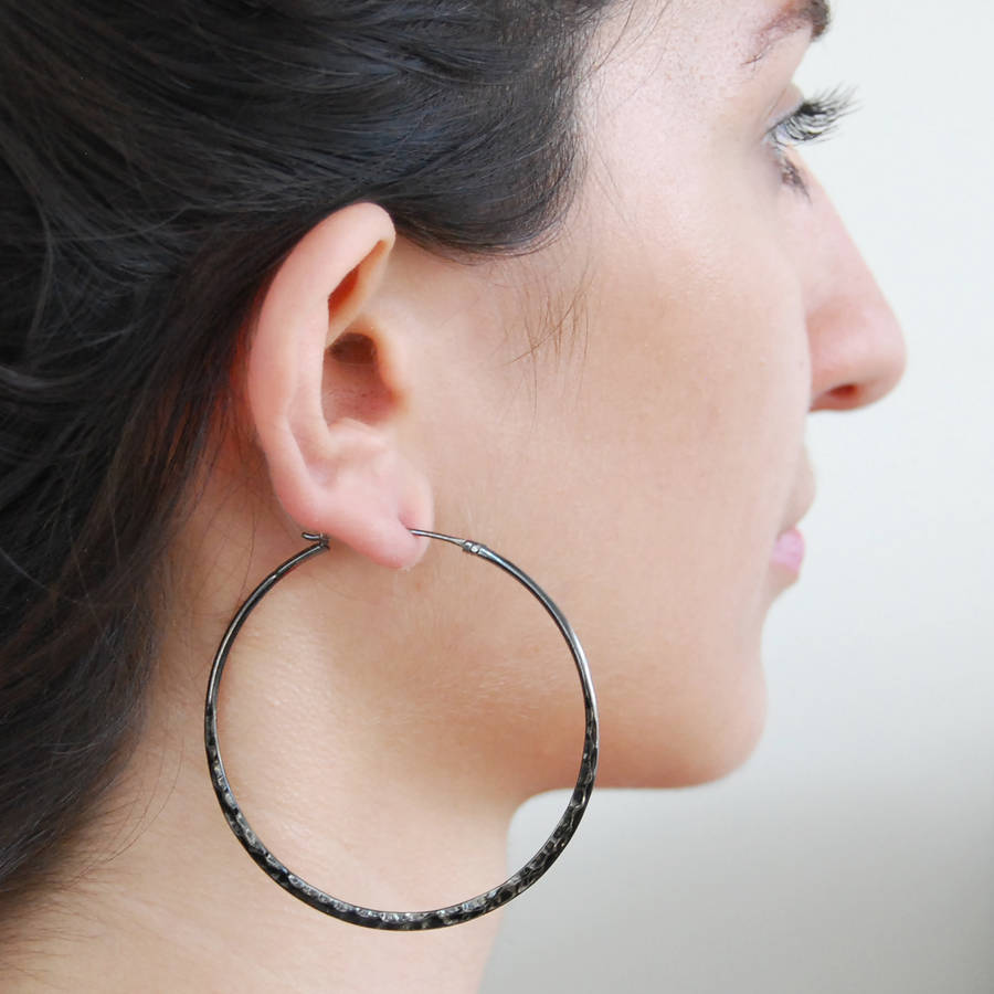 Large Oxidised Silver Black Hoop Earrings
