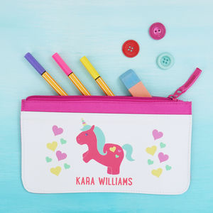 Personalised Colourful Unicorn Pencil Case - pencil cases