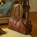 'Drake' Leather Holdall Weekend Bag In Natural