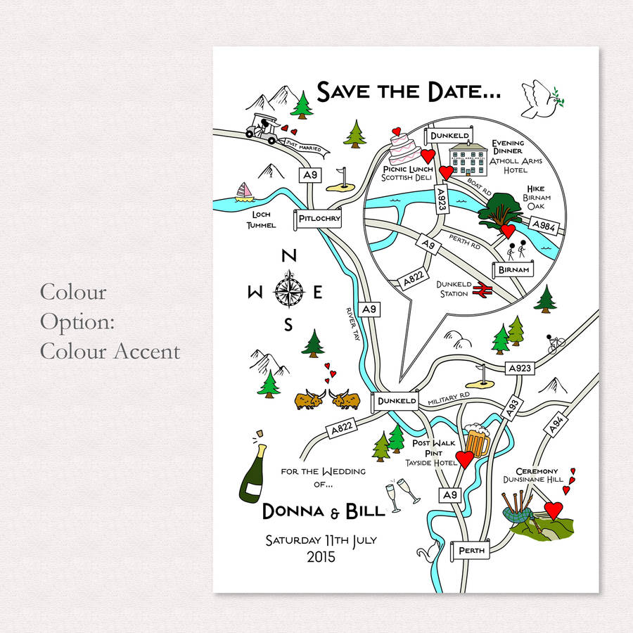 Print Your Own Colour Wedding Or Party Illustrated Map By Cute Maps