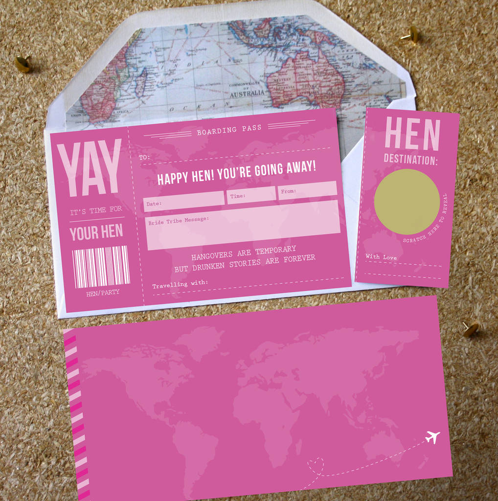 hen party surprise scratch off boarding pass by rodo creative ...