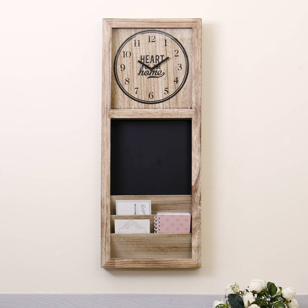Wall Mounted Letter Rack Chalkboard And Clock By Dibor