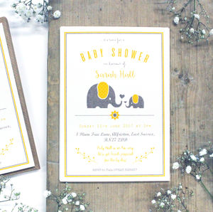 Personalised Ellie Elephant 'Baby Shower' Invitation - baby shower invitations