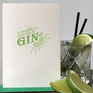 'Gin' Letterpress Card