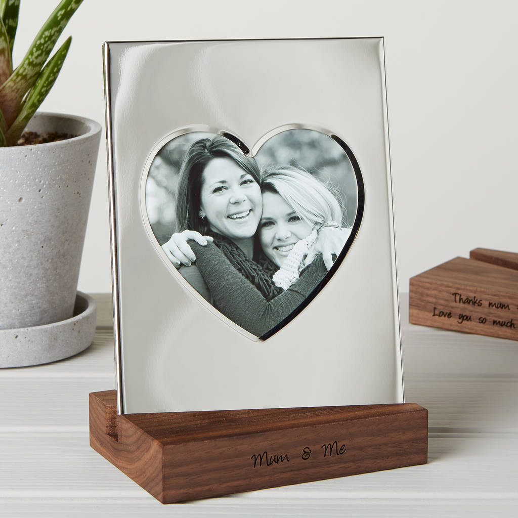 silver heart frame with personalised stand by mijmoj design ...