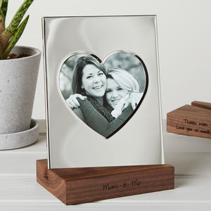 Silver Heart Frame With Personalised Stand