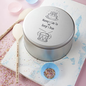 Personalised Cake Tin With Spoons
