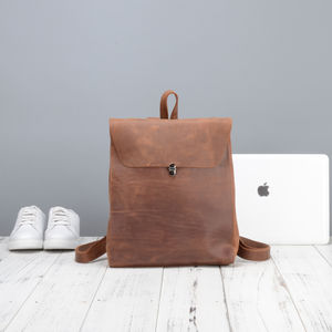 Worn Look Leather Backpack For Ladies - backpacks