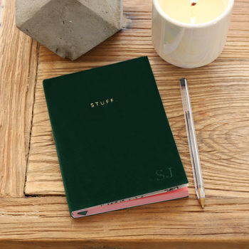 Personalised Green Velvet 'Stuff' A6 Notebook