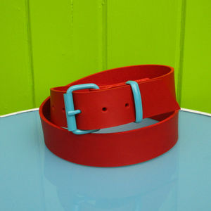 Red Leather Belt - womens