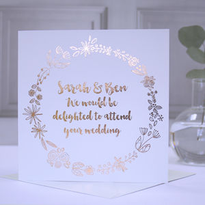 Personalised Copper Foil Wedding Acceptance Card - wedding cards & wrap