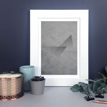 Concrete Abstract Print With Triangles