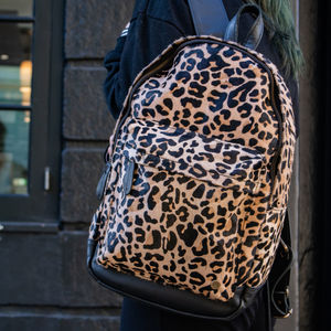 Classic Leather Backpack In Leopard Print Pony Hair