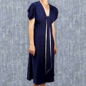 1930's Style Blue Crepe Midi Length Dress With Sash