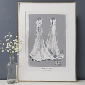 Illustrated Wedding Dress Illustration Portrait - personalised wedding gifts