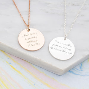 Eden Personalised Message Necklace - birthstone jewellery gifts