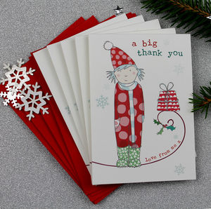 Thank You Christmas Mini Notecards Pack Of Five - winter sale