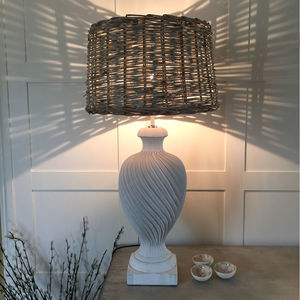 Elegant White Finial Urn Lamp With Wicker Shade - lighting
