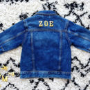 Kids Personalised Denim Jacket Basic Gold Letters