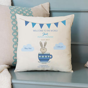Baby Boy Birth Cushion Teacup Bunny - children's room