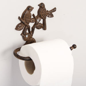 Bird Themed Cast Iron Toilet Roll Holder