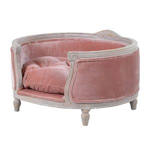Hand Carved Pink Velvet Dog Bed