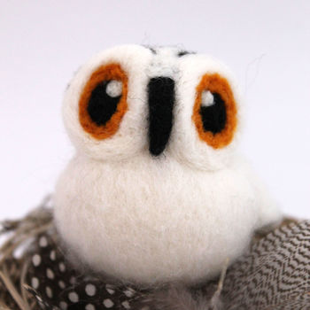 Needle Felted Snowy Owl Ornament