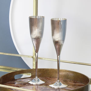 Silver Plated Ribbed Champagne Flute Set - mystical decadence wedding trend