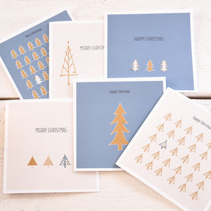 Christmas Tree Card Pack Containing Six Designs - cards