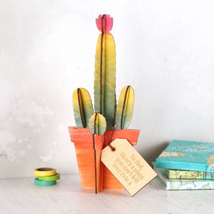 Personalised Wooden Cactus Plant For Him