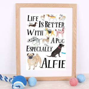 Life Is Better With A Pug Personalised Print - animals & wildlife