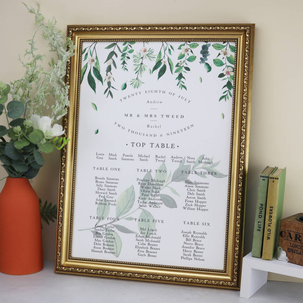 green and white botanical wedding table plan by summer lane studio ...
