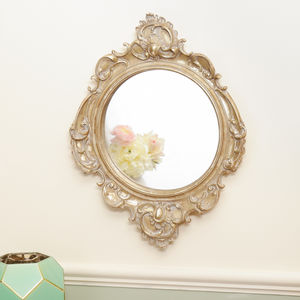 Scrolled Carved French Wall Mirror - decorative accessories