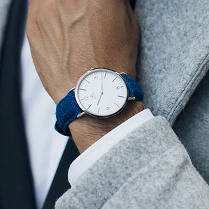 Harris Tweed Sapphire Blue High Beach Silver Watch - watches
