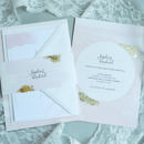 Blush Watercolour Gold Wedding Invitation
