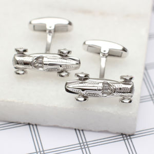 Solid Sterling Silver Racing Car Cufflinks - cufflinks